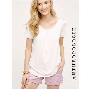 {anthropologie} Meadow Rue Lace Trimmed White T Lg